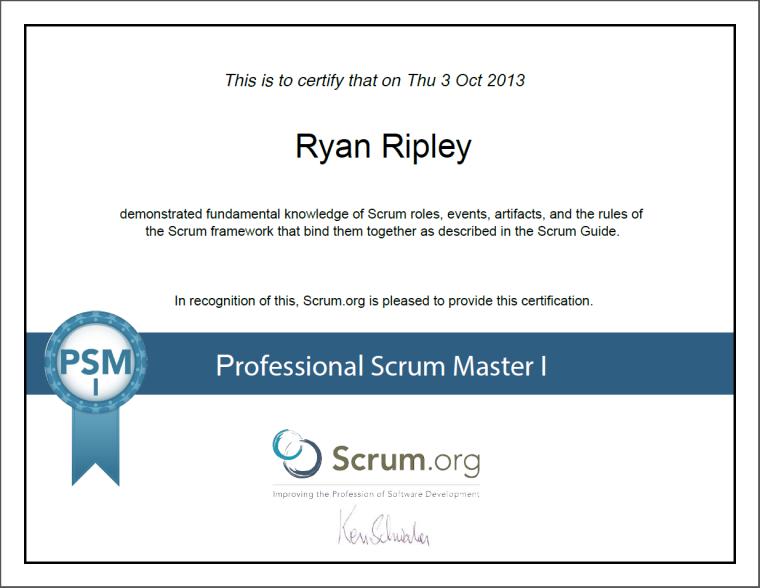 PSM I Assessment Certificate | Scrum.Org